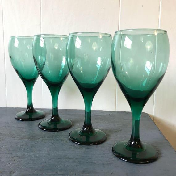 emerald green wine goblets - dark green glasses - boho jewel tone barware - spring wedding - toasting glasses - Set of 4