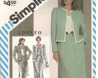 Simplicity 5878 Size 16, 18, 20 Women's plus size Adolfo suit pattern: princess seam, lined jacket, camisole and long or short pencil skirt