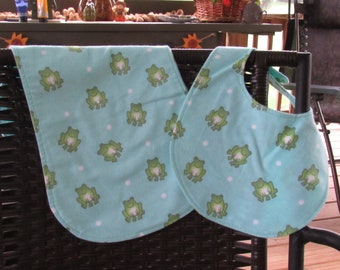 Fabulous Frogs Bib and Burp Cloth Gift Set