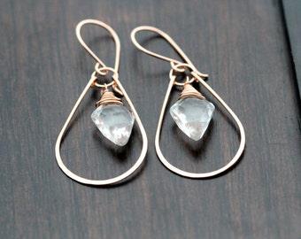 Crystal Quartz Hoop Earrings , Gold Dangle Boho Hoops , Arrowhead Gemstone Drop Earrings , Rose Gold , Sterling Silver - Arrow