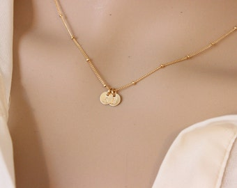 gold initial necklace, two initial necklace, sister gift, gift for girlfriend, satellite necklace, monogram necklace, delicate necklace