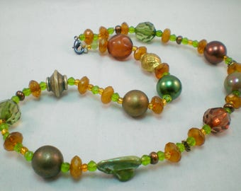 Chunky Fall Necklace, bead soup, autumn necklace, fall jewelry, autumn colours, autumnal jewellery, rustic, green, orange, boho necklace
