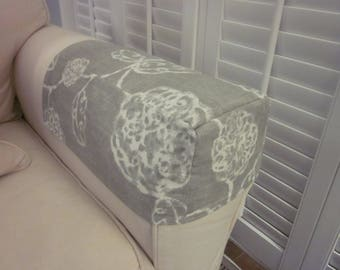 Sofa Arm Caps or Covers, Chair Arm Caps, Pair, Gray Cotton with White Flowers, Made to Order, Various Fabrics and Sizes are Available