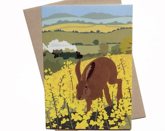 Spring - Brown Hare and Oil Seed Rape Field Greetings Card