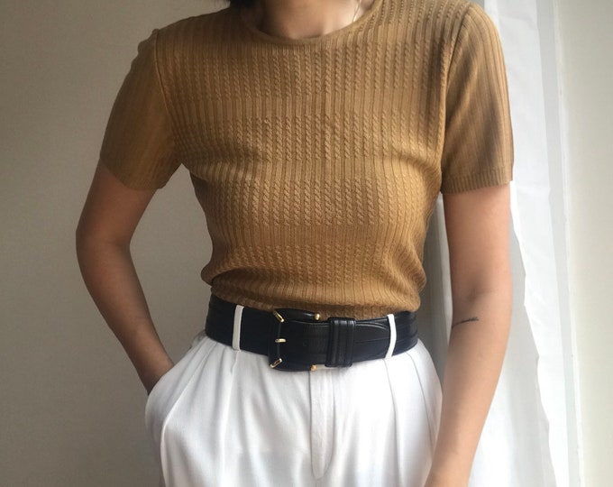 90s Vintage Caramel Knit Top