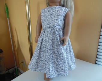 "Blue scrolls long dress for 18"" dolls"