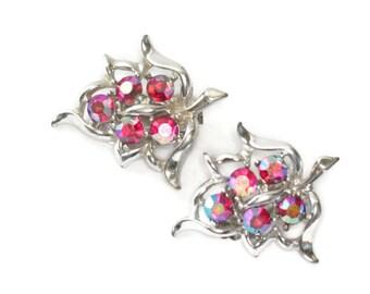 Sarah Coventry Red Aurora Borealis Rhinestone Earrings Dazzling Aurora Grape Cluster Clip On Earrings 1959