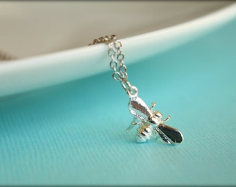 Flying Bee Necklace, Available in Silver or Gold