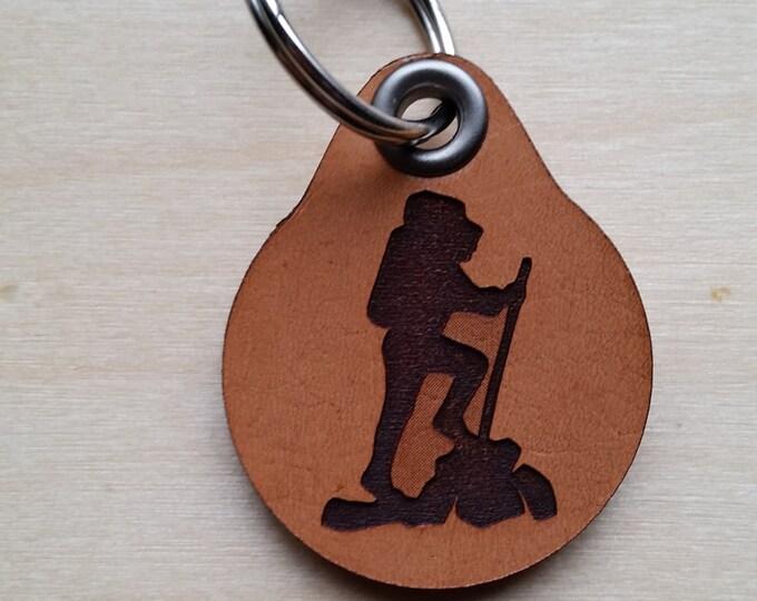 Laser engraved Hiking Leather Key Fob