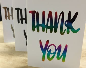 Thank You Greeting Card - customisable hand lettering, foiled