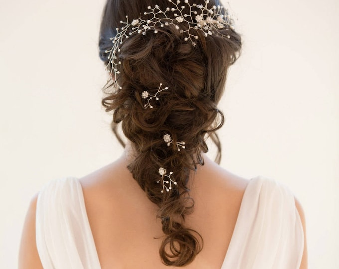bridal Pearl and crystal hair vine, ivory or blush piece, Gold or silver, garland, wedding accessories, accessory, bride hair accessory