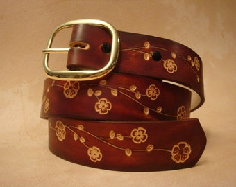 """Tooled Leather Belt - Custom Leather Belt - Personalized Leather Belt - Brown 1-1/2"""" Floral Pattern"""