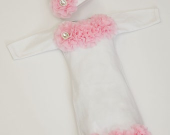 White Infant Layette White Baby Gown with Pink Chiffon Flowers and Rhinestones