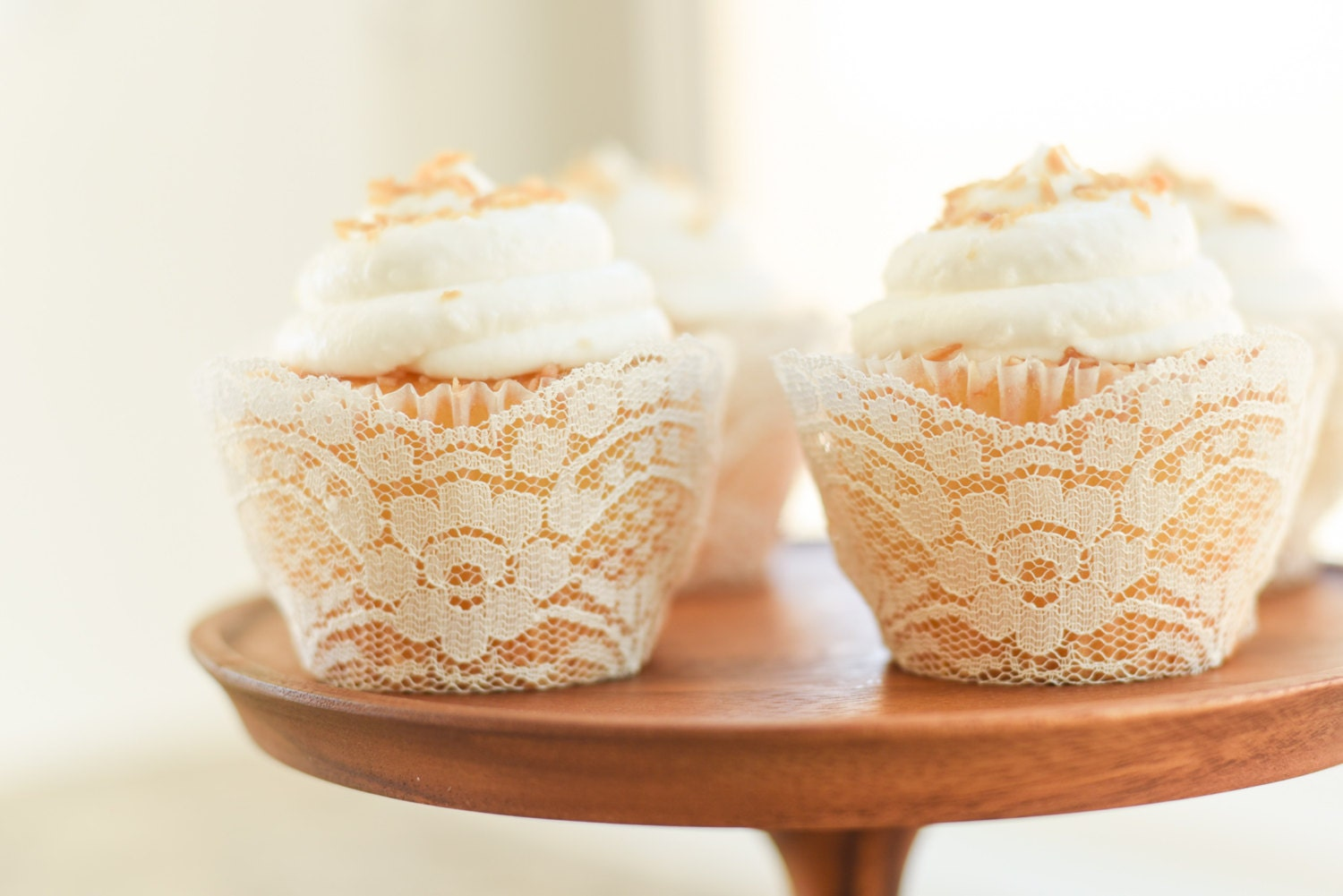 Real Ivory Lace Cupcake Wrappers Liners wedding rustic