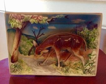 Vintage Ceramic Art-Deer Picture-Glass Deer Scene