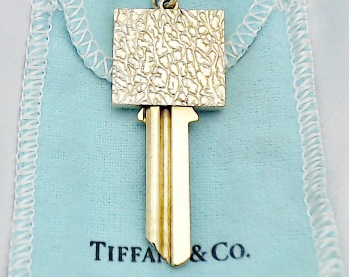 TIFFANY... Vintage 14K Yellow Gold and Brass Key Pendant - Uncut...RARE ~