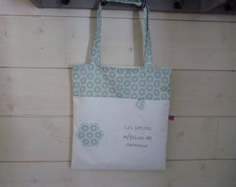 fabric shoulder custom bag for women white and green embroidery