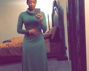 Ella-gance Cowl Neck Maxi Dress