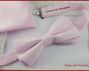 Set bow tie Double pouch suit and matching cufflinks blush - man