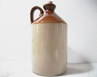 Pearson's Chesterfield Pottery Jug Two Tone Brown Glazed Vintage Stoneware Gift Ideas