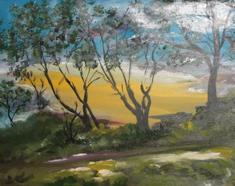Expressionist landscape forest oil painting signed