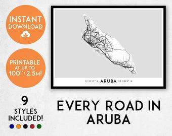 Aruba map print, Printable Oranjestad map art, Aruba print, Aruba art, Aruba poster, Aruba wall art, Oranjestad print, Netherlands map print