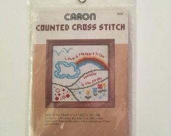 Vintage Caron Cross Stitch Kit Love in the Heart 1981 Needlework Pattern