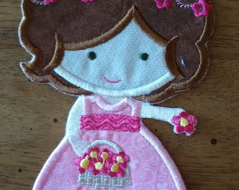 Iron On Applique Flower Girl