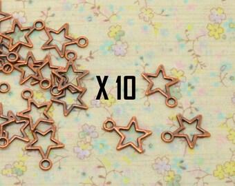 10 x empty openwork star charm metal copper