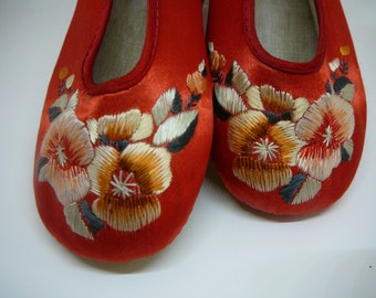 Vintage Red Silk Embroidered Chinese Slippers Child's Size
