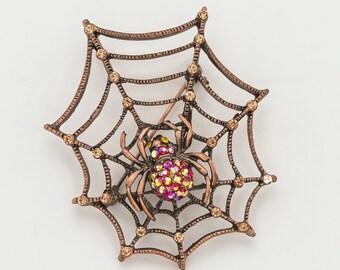 Spider Brooch Rhinestone Crystal Spider Wed Brooch Bridesmaid Antique Brooch DIY Jewelry Large Spiderweb Brooch Halloween Brooch