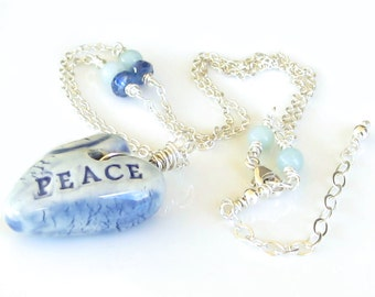 On Sale, Blue Heart, Sterling Silver Necklace, Blue Ceramic Heart, Peace Necklace, Kyanite Gemstones, Amazonite Gemstones, Peace Necklace
