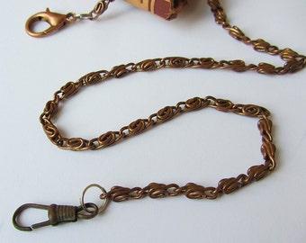 Vintage pocket watch chain,Copper tone chain,Antique watch chain,Chain for pocket watch,Pocket watch holder,Vintage jewelry