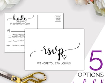 Wedding RSVP Cards Template: Rustic Printable Wedding Rsvp Postcard or Response Cards, Rsvp Online, Song Request, Editable PDF Download K008