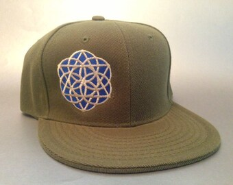 Sacred Seed Fitted Hat made to order flat bill sacred geometry FREE SHIPPING