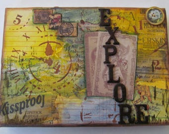 Mixed media canvas, Explore,Maps,Travel,Destinations,Yellow,Black,
