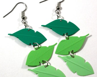 Jungle Earrings Rainforest Earrings Green Jungle Leaves Dangle Leaf Earrings Plastic Sequins