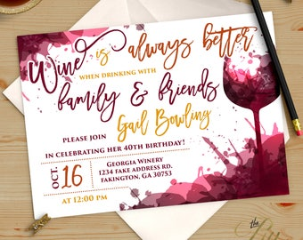 Purple Wine Winery adult Birthday Invitation |  Birthday Invitation Printable DIY No. I302