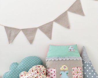 Linen bunting with tiny gold polka dots, banner, garland, gold, glitter, sparkles -