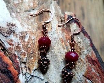 Copper Pine Cone Earrings