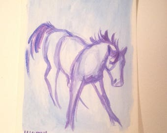 Horse Art, Small Acrylic Painting on Paper, Original Painting, Small Horse Sketch, Equestrian Gifts, Gifts Under 25 Unframed Art