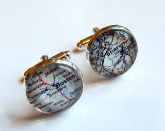 Boston Map Cufflinks, Custom Map Cufflinks, Personalized With Any Location