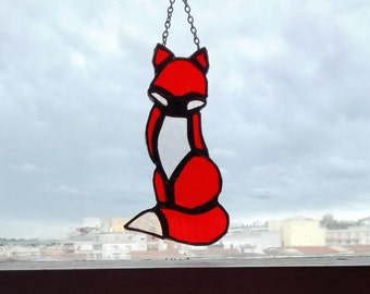 Stained Glass Little Fox, home decor, stained glass gift, window decor, glass art, suncatcher