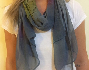Blue Scarf with Large Flower Pattern