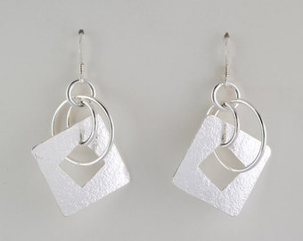 Circles and Squares Earrings - Sterling Silver