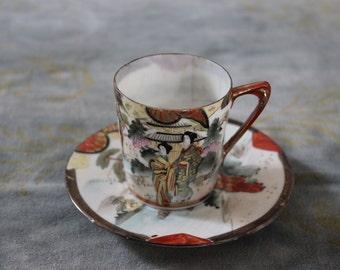 Japanese Geisha Tea Cup and Saucer