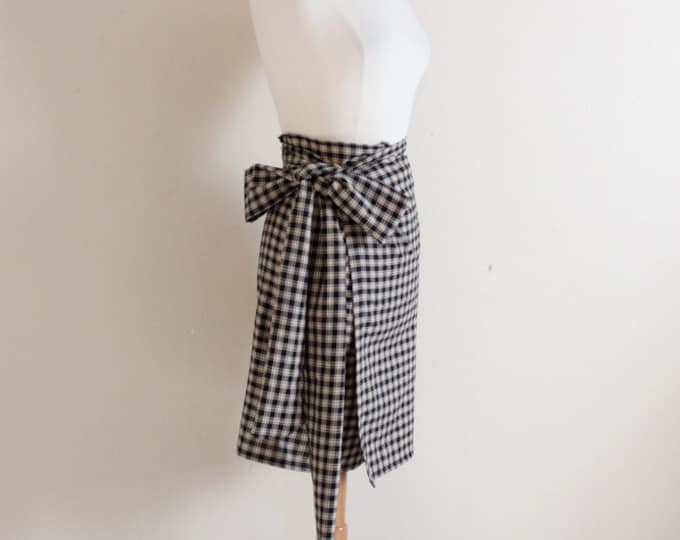 simple wrap check cotton skirt with wide obi / plaid black and cream cotton wrap skirt / knee length wrap skirt / obi waist summer skirt