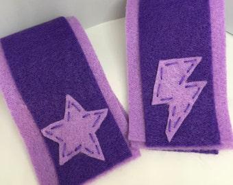 Superhero Cuffs - Customize and Personalize any colour -  Light Purple/Dark Purple