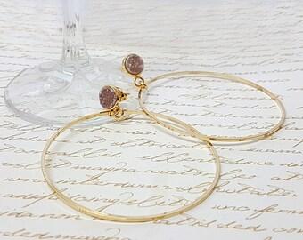 Inspirational, womens gift, Druzy gold hoop earrings, hoops earrings, big gold hoops earrings, natural Druzy Agate earrings, stone jewelry