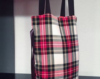 Foldable bag Tote bag with plaid pattern